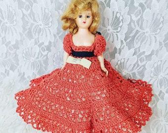 "Antique 8"" Doll Mohair ~ Sleepy Eyes ~ Crochet Dress ~ Removable High Heel Shoes ~ Dress Me Doll ~ 1950s ""Miss Georgia Peach"" Doll"