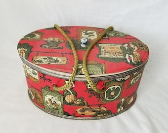 Vintage Oval Sewing Box with Lid and Carrying Handles ~ Red Colonial Vinyl ~ 1960s All Original ~ Perfect for Makeup or Knitting