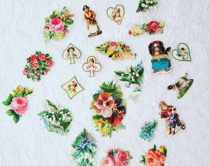 Huge Lot of 22 Antique Edwardian 1906 German Made Die Cuts for Valentine's Day Cards ~ 100+ Years Old