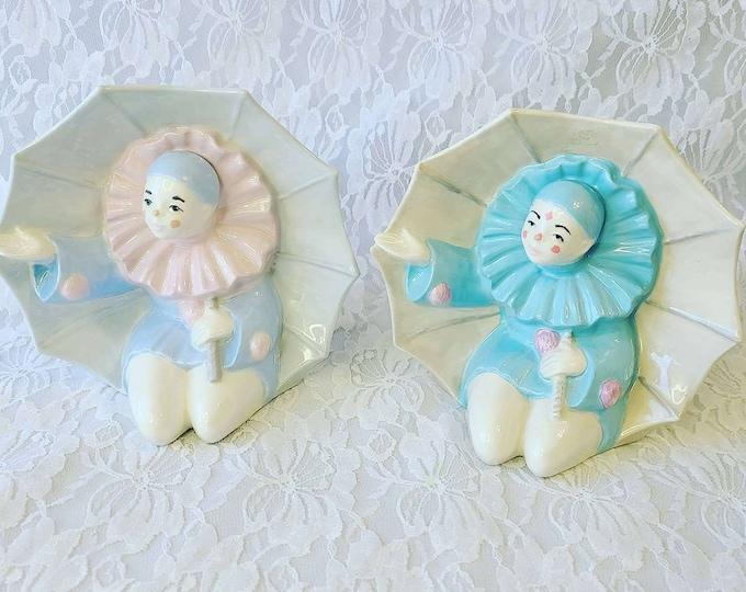 "Choose Pink or Blue RARE Large! Vintage Ceramic Clown 1981 Gare Inc. Art Deco  ""Pierrot French Mime Figurines"" Under Umbrella"