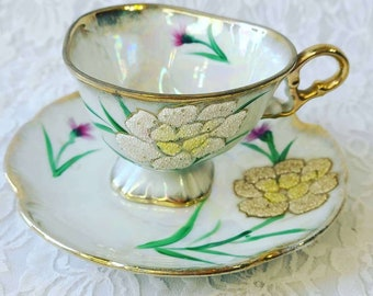 1940s Beaded? Embossed? Crystalized Floral Tea Cup and Saucer Set ~ Art Deco ~ Fine Bone China ~ Heavy Gold Trim ~ UNMARKED
