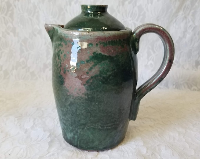 Decorative Art Pottery Teapot Pitcher Watering Can Jug ~ Signed JAS ~ Unique Coloring ~ Large Jug with Lid ~ Raku Pottery