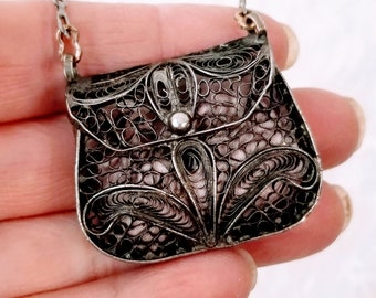 "Antique 1900s Vintage Nouveau Sterling 800 Silver Filigree Doll Purse ~ for French German Antique or Reproduction Dolls 1.5"" by 1.25"""
