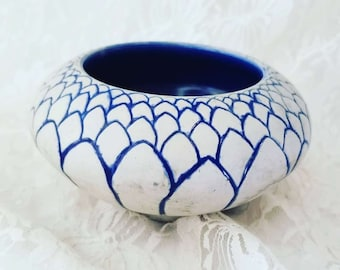 Amazing Handmade Hand Painted Art Pottery LOTUS Bowl ~ Signed by Artist Susan Morris ~ Decorative Clay Pottery