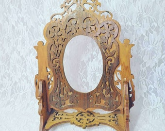 """Wooden Hand Carved Tabletop Picture Frame ~Hand Made Carved ~ Exquisitely Detailed 12"""" by 8.5"""" Holds Pic that is 4.4 by 3.25"""