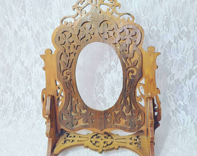 "Wooden Hand Carved Tabletop Picture Frame ~Hand Made Carved ~ Exquisitely Detailed 12"" by 8.5"" Holds Pic that is 4.4 by 3.25"