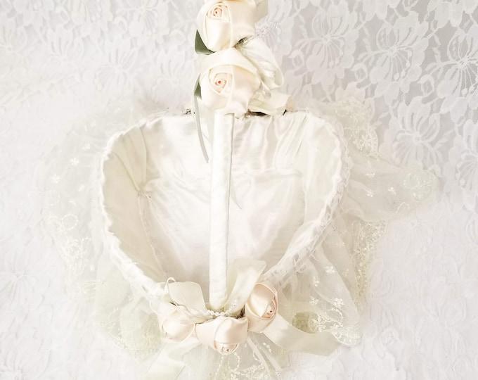 Vintage Handmade Flower Girl Basket ~ Lace and Satin with Roses ~ Handled Basket ~ Easter Basket ~ Decorative Basket
