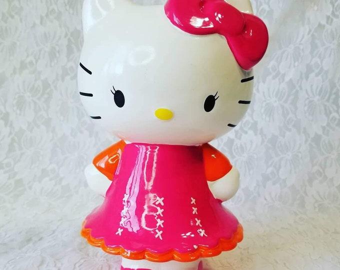 """Very Adorable Ceramic Vintage Sanrio Hello Kitty Coin Bank Piggy Bank ~ Sanrio F.A.B NY Super Cute! 8"""""""