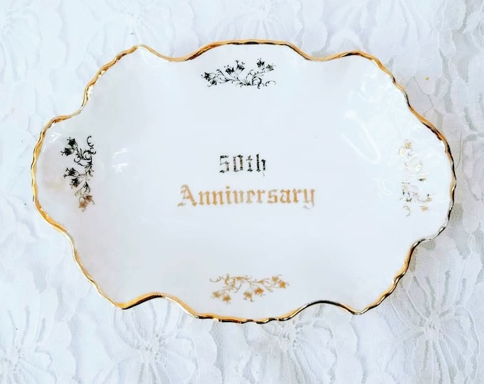 Dixon Art Studios Hand Painted 50th Anniversary Trinket Dish Ring Tray ~ Ring Holder ~ 22kt GOLD Trim