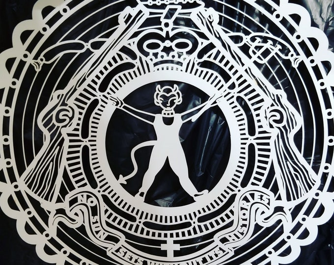 """Weird Laser Cut on Wood Paper Devil Girl """" The Sun Never Sets Without Its Histories"""" Ephemera Scrapbooking, Paper Arts, Altered Art Etc"""