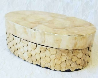 Vintage Capiz Shell Mother of Pearl Lidded Trinket Box ~ Natural Shell Jewelry Box ~ Dragon Scales Design ~ Champagne Gold ~ As-Is