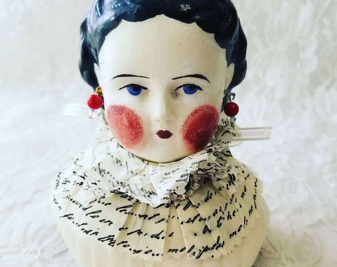 """Altered Art Paper Mache Doll Head ~ Repurposed ~ Decorated ~ 6"""" Tall ~ Doll Making or Decoration ~ As-Is"""