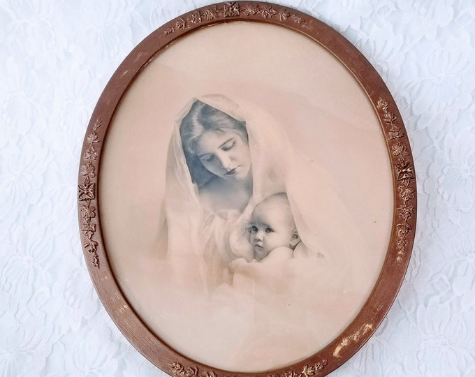 Beautiful 1950s Oval Framed Mother and Child Portrait ~ Tin Frame ~ Sepia Portrait ~ Amazing Energy ~ Historical Item