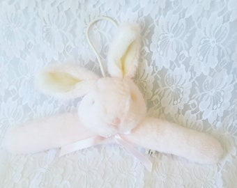 Clothing Hanger ~ Bunny Plush Covered Hanger ~ Perfect for Easter Dress Outfit ~ Pink Plush Bunny Hanger