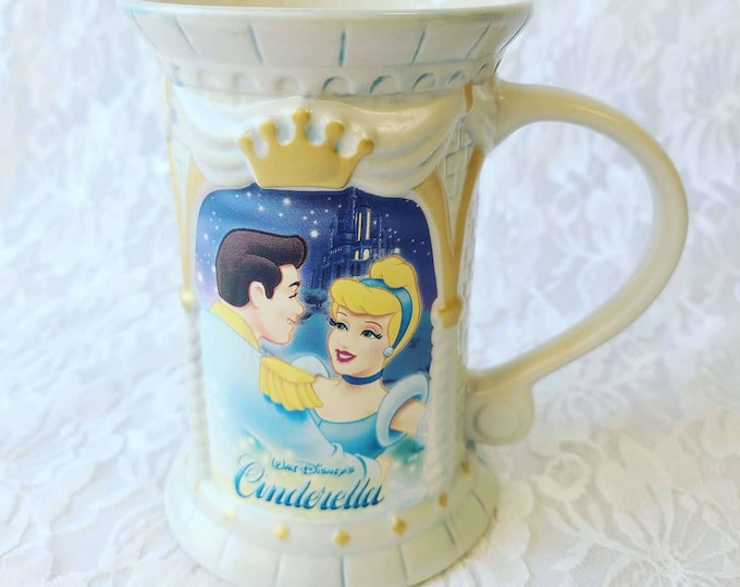 CLEARANCE Disney Cinderella Beer Stein Mug ~ Ceramic Mug Cup Made in Japan Mint Condition ~ Sold As-Is Chipped Lip