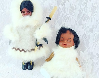 "ALASKA ~ Souvenir Dolls ~ Native American Indian Eskimo ~ Set of 2 Vintage 1950s Hard Plastic Dolls ~ Inuit Eskimo Dolls 6"" and 8"" Tall"