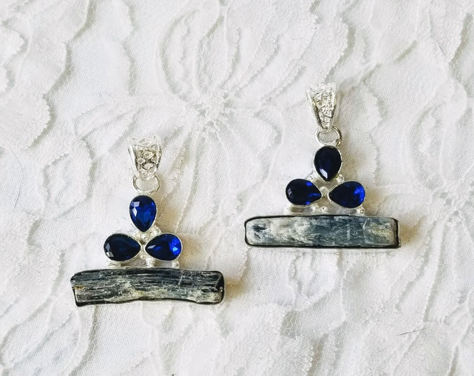 Best Friend Necklaces ~ Set of Two (2) Kyanite Pendants ~ Sterling Silver ~ Marked 925 ~ BFF Necklaces ~ Comes with Sterling Silver Chains