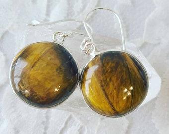 Tigers Eye Sterling Silver Earrings ~ Crystal Energy ~ Mercury Retrograde Protection ~ Beautiful Raw, Polished Stone