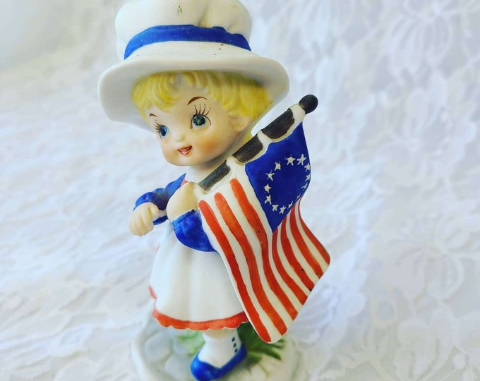 Vintage 1950s Bisque Fourth of July Betsy Ross American Flag Figurine ~ Consco? Napco? Norcrest? Lefton? ~ Marking Says B-955