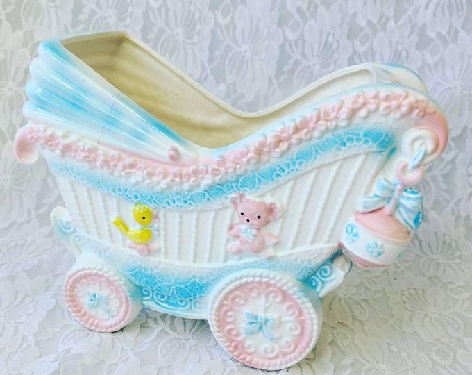 Vintage 1950s Gender Neutral Napco Chalkware Napcoware Nursery Collectible Planter ~ Retro Vintage Nursery Decor ~ RARE! ~ Baby Gift
