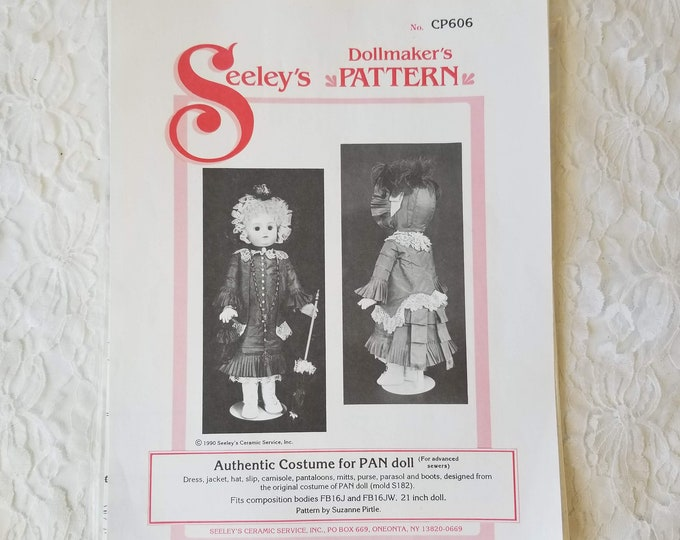 """Seeley Doll Patterns #CP606 Costume for PAN Doll ~ Advanced Sewing ~ Uncut Dress Pattern & Instruction for 21"""" Porcelain or Composition Doll"""