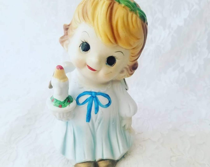 Cute Vintage Ceramic Christmas Angel Holding Candle Night Light ~ Nursery Lamp ~ Needs Cord ~ As-Is