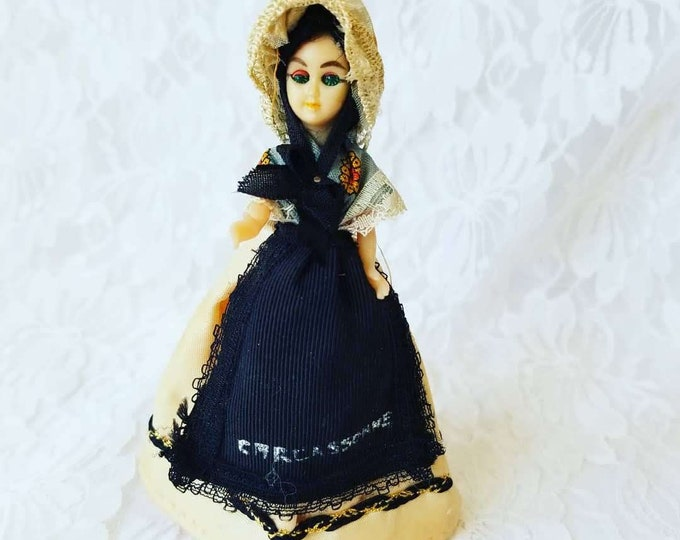 "FRANCE 5 Inch Doll ~ Dollhouse Miniature Jointed Souvenir Doll 5"" ~ French ~ 1950's ~ Celluloid ~ Jointed"
