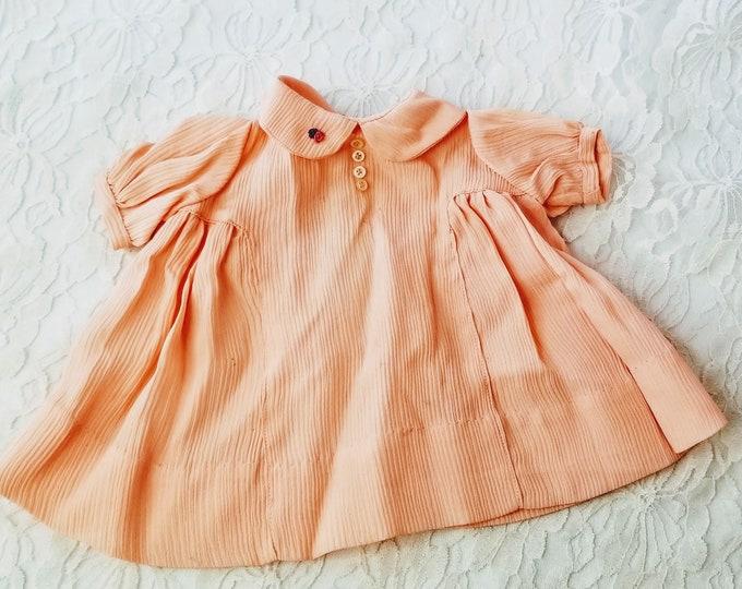 "Handmade 1940s Peach Crinoline Handmade Antique Doll Dress for 16-20"" Porcelain, Composition, Rubber, or Hard Plastic Doll"