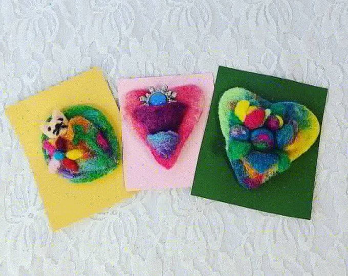 Handmade Set of 3 Felted Brooches Pins ~ Mixed Media Jewelry ~ Unique OOAK Brooch Pin Lapel ~ Christmas Gifts ~ Stocking Stuffers
