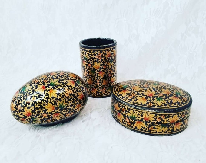 Vintage Hand Painted Persian Kashmir Paper Mache Lacquer Cup and Trinket Box Desk Set ~ Intricate Hand Painted Design ~ RARE Great Condition