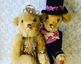 """Amazing Set of Two (2) 21"""" Handmade Jointed Dancing 1920's Art Deco Teddy Bears ~ Unique ~ Steif-Like ~ RARE Find!"""