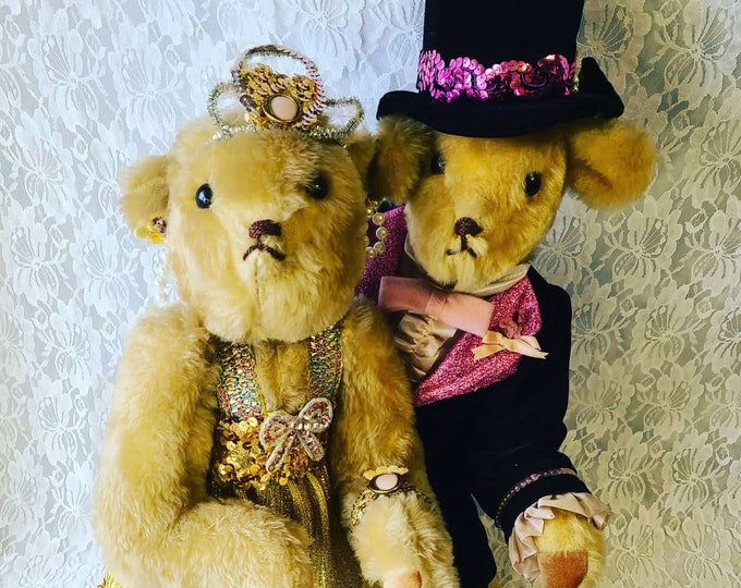 "Amazing Set of Two (2) 21"" Handmade Jointed Dancing 1920's Art Deco Teddy Bears ~ Unique ~ Steif-Like ~ RARE Find!"