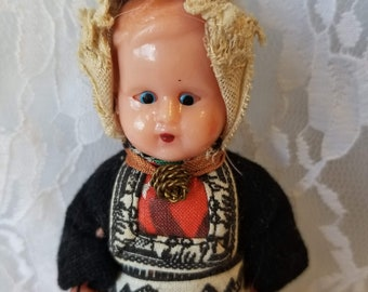 "FRANCE 5 Inch Celluloid Doll ~ Antique Souvenir Sleepy Eye 5"" ~ French National Dress ~ 1940's ~ Tiny ~ Jointed ~ Fragile"