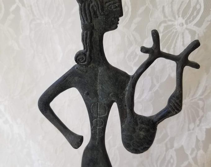 "MCM 1950s Vintage God Apollo Bronze Sculpture - 15"" Greek God of Music Poetry Sun and Light - Figurine Statue ~ C. SCLAVENITIS Artist Signed"