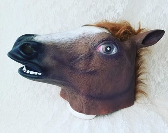 Horse Head Mask Adult Full Cover Faux Fur And Vinyl Theatrical Theater Cosplay RPG Masquerade Halloween