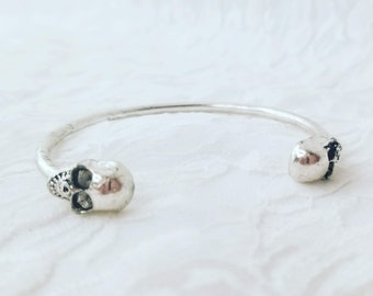 Silver Unisex Skull Skeleton Head Partial Cuff Bangle Bracelet ~ Gift for Him or Her!  Will Come Packaged in a Gift Bag