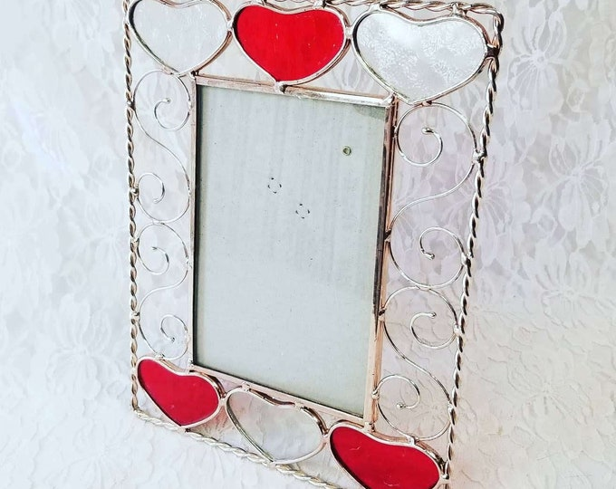 """Stained Glass Picture Frame ~ Holds 4"""" by 6"""" Photo ~ Heart Style Stained Glass ~ Red and White"""