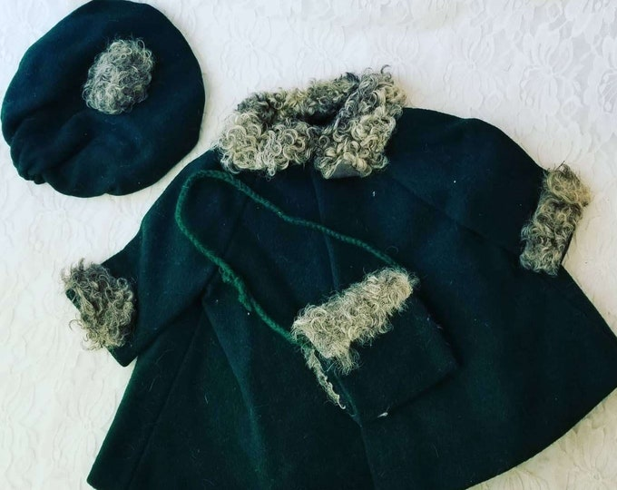"""Amazing 1930s LARGE Doll Green Wool HANDMADE Overcoat Jacket, Hat, and Muff for Antique Composition Doll 20-32"""" Doll Clothes"""