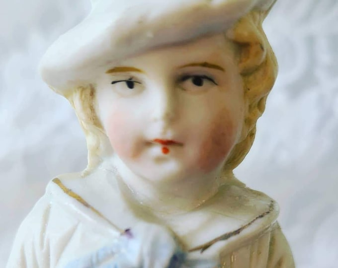 "Antique Heubach? 6"" Bisque German Boy Figurine ~ Unmarked ~ Art Nouveau ~ Statue, Figurine ~ Hollow Bisque Form"