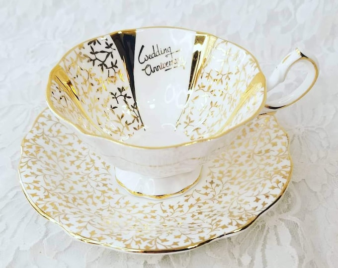 Queen Anne Bone China England ~ Footed Teacup and Saucer Set ~ Wedding Anniversary ~ Collectible Teacup and Saucer
