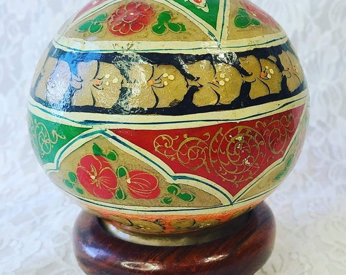 Vintage 1960s CAMEL BLADDER Turkish Night Light Lamp ~ Hand Painted Floral Globe Orb ~ Wooden Base ~ Needs Cord and Light ~ As-Is