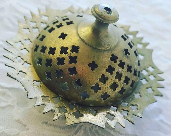 Vintage Brass Censer - Incense Burner - Censer with Lid - Herb Burning Device ~ Wiccan Altar Supply ~ Cone and Resin Incense Burner
