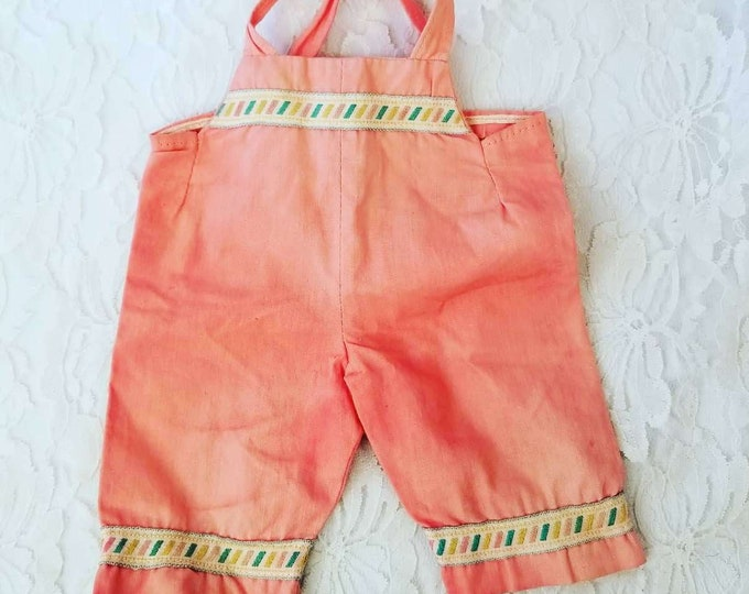 Rare Factory Made Vintage 1960s Ideal Tiny Thumbelina Baby Doll Coral Overalls Play Outfit