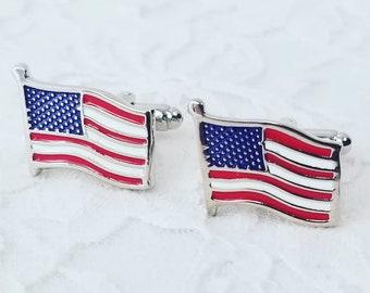 Vintage American Flag Stainless Steel Cufflinks ~ Gift for Dad ~ America ~ Veterans ~ Military