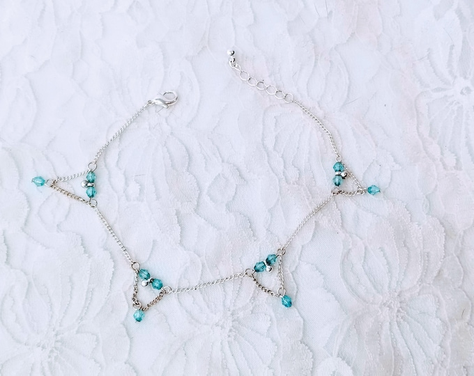 Handmade Blue Glass Beaded Sterling Silver Bracelet OOAK Beautiful ~ Made in India