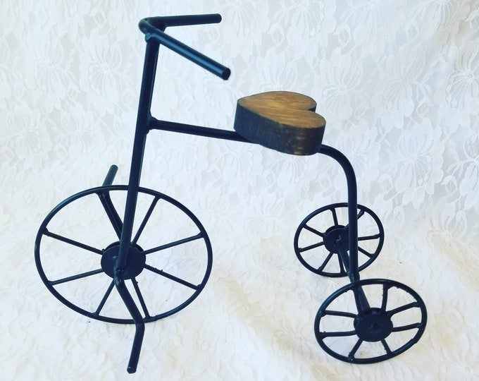 """Victorian Doll Sized Bicycle Tricycle  ~ 9"""" by 11"""" Photo Prop ~ Small Metal Bicycle ~ Doll Furniture ~ Doll Bicycle"""