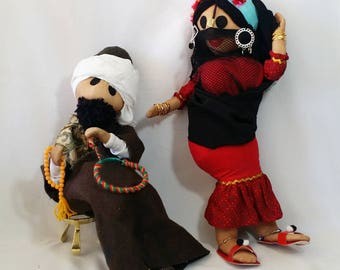 Handmade LARGE 17 Inch Ethnic India Couple ~ Souvenir Dolls ~ Real Jewelry ~ Handmade OOAK Stockinette Dolls