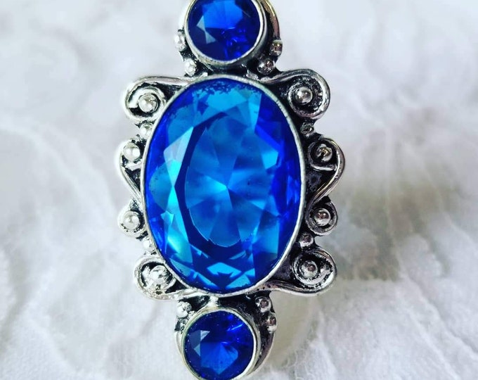 Deep Blue Topaz Ring ~ Size 7 ~ Sterling Silver ~ Marked 925 ~ Healing Stones ~ Crystal Energy ~ Free Ship USA