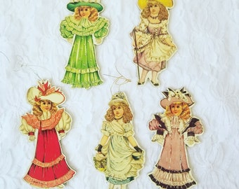 """Lot of 5 Large Antique Reproduction Edwardian Victorian Die Cut Ornaments Tags on Heavy Cardboard 5"""" Tall"""