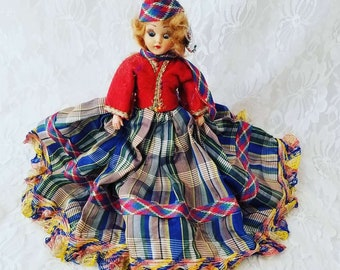 """Antique Scottish 8"""" Doll Mohair Sleepy Eyes Satin Dress Molded Shoes Dress Me Doll 1950s Dolls of the World? Duchess? Sold As-Is"""